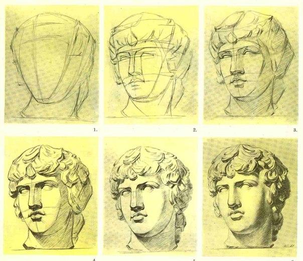 Рисованные гипсовой головы
